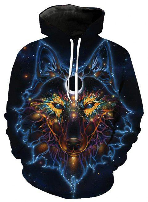 Fashion Wolf Loose Hoodies - STEEL BLUE S