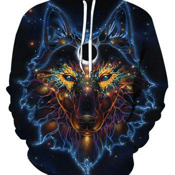 Fashion Wolf Loose Hoodies - BLACK 4XL