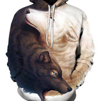 Hoodies lâches Fashion Wolf - Blanc 2XL