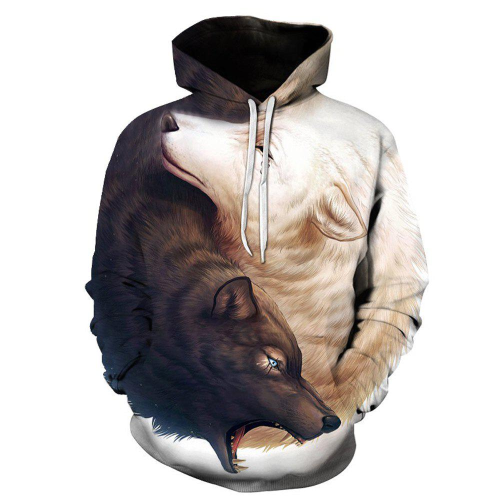 Hoodies lâches Fashion Wolf - Blanc Chaud S