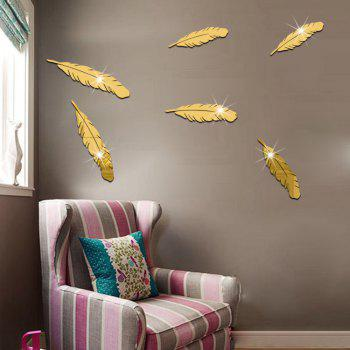 Plastic The Background Mirror Wall Stickers - GOLDEN 5X25CM