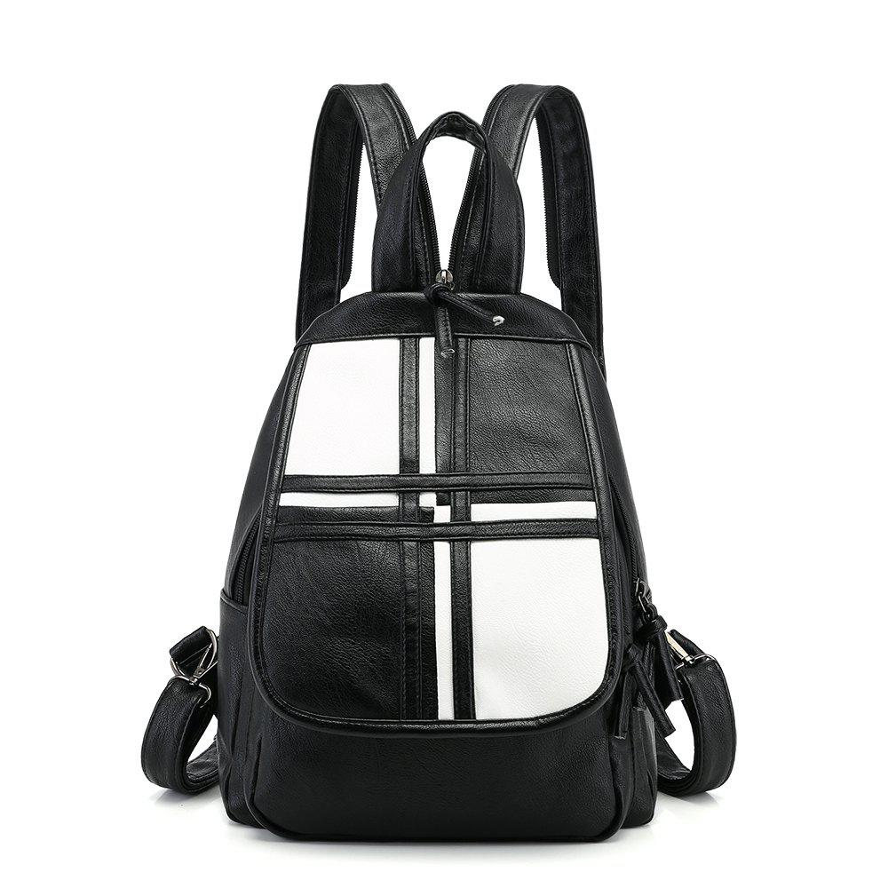 Fashion Wild Trendy PU Simple Fresh Ladies Backpack - BLACK WHITE