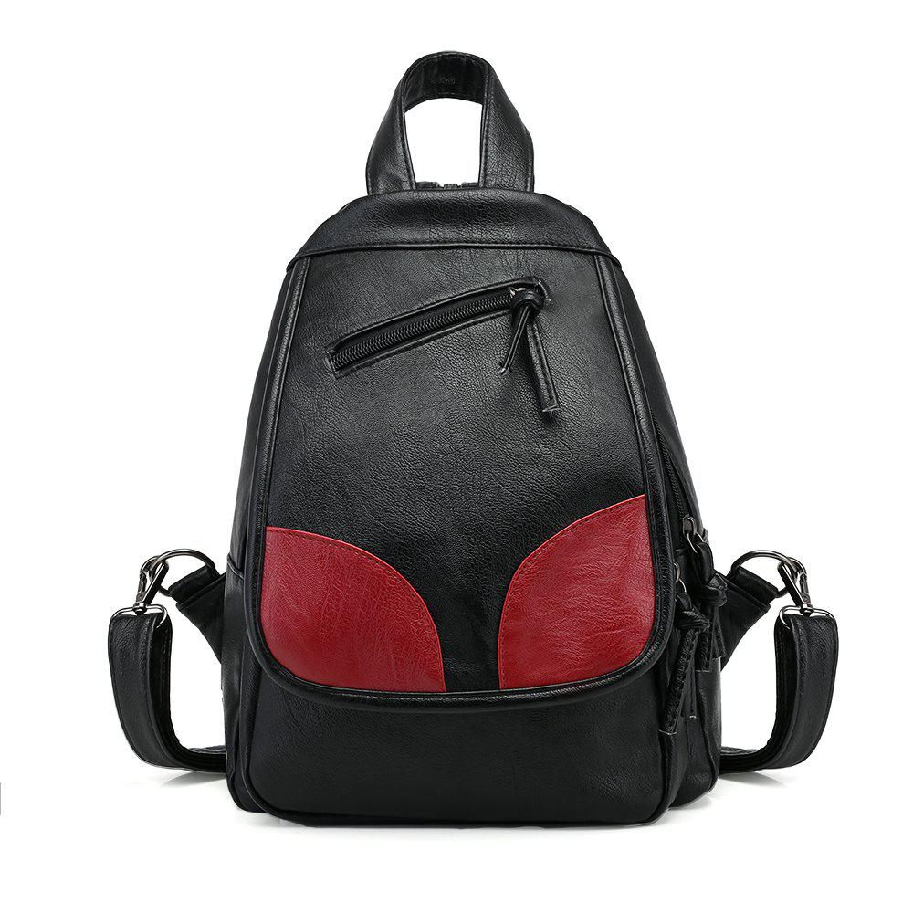 Fashion Wild Trendy PU Simple Fresh Ladies Backpack - BLACK/RED