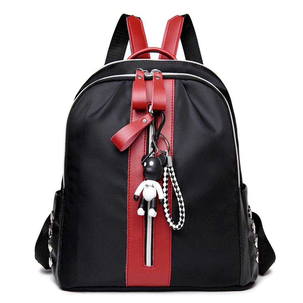 Large Capacity Wild Fashion Oxford Cloth Small Fresh Lady Backpack - BLACK/RED