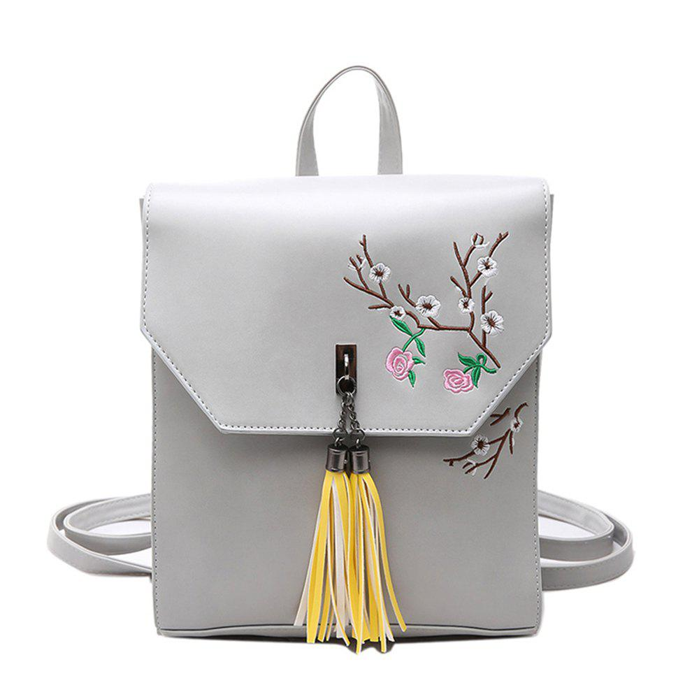 Tassel Small Fresh Wild Fashion Trendy Ladies Backpack - GRAY
