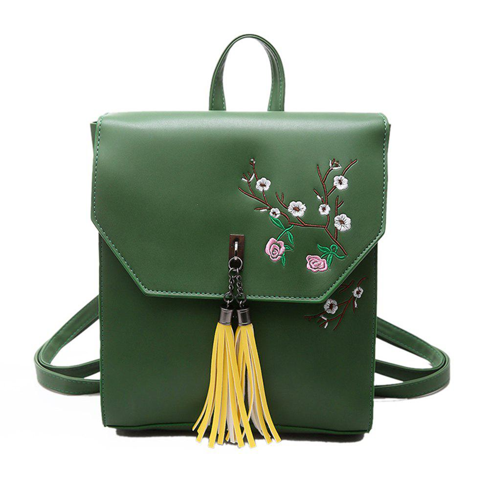 Tassel Small Fresh Wild Fashion Trendy Ladies Backpack - GREEN
