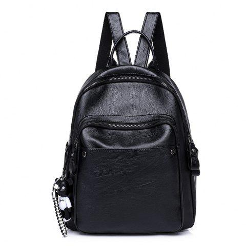 PU Large Capacity Wild Fashion Simple Trendy Travel Backpack - BLACK