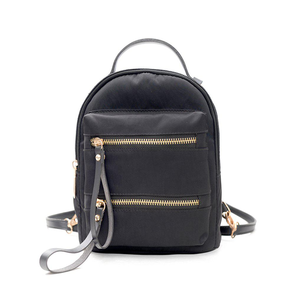 Oxford Cloth Fashion Trendy Simple Fresh Little Ladies Backpack - BLACK