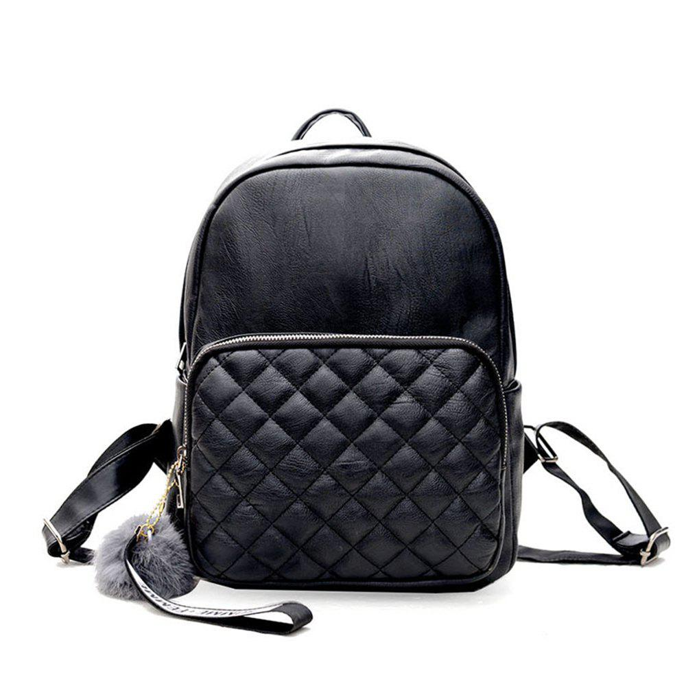 PU Fashion Wild Trend Simple Cute Little Fresh Ladies Backpack - BLACK