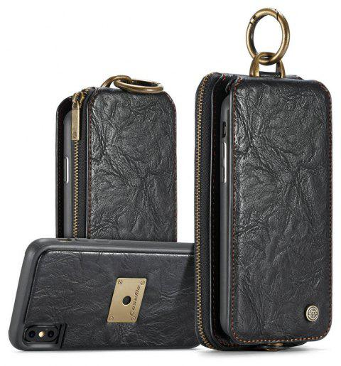 CaseMe for iPhone X 2 in 1 Multi Slots Wallet Vintage Split Leather Mobile Phone Case with Zipper Card Compartment - BLACK