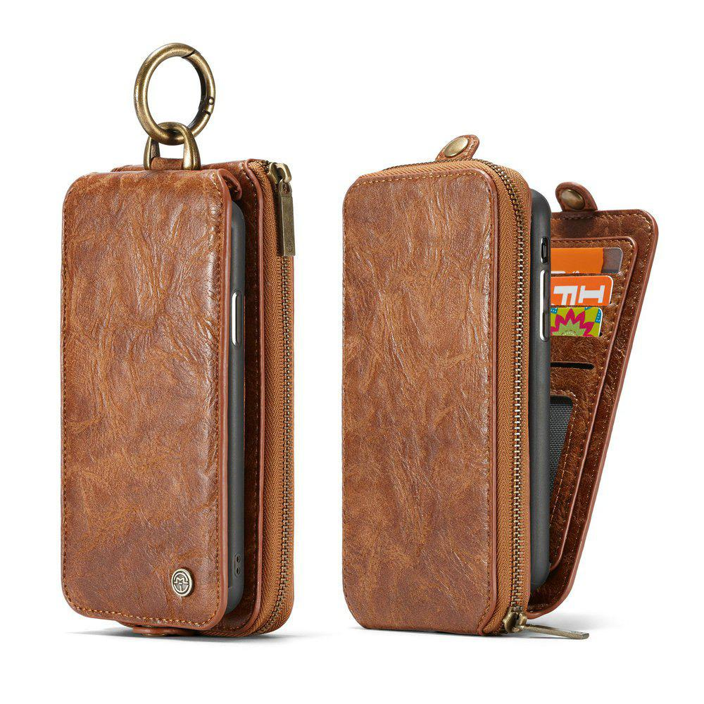 CaseMe for iPhone X 2 in 1 Multi Slots Wallet Vintage Split Leather Mobile Phone Case with Zipper Card Compartment - BROWN