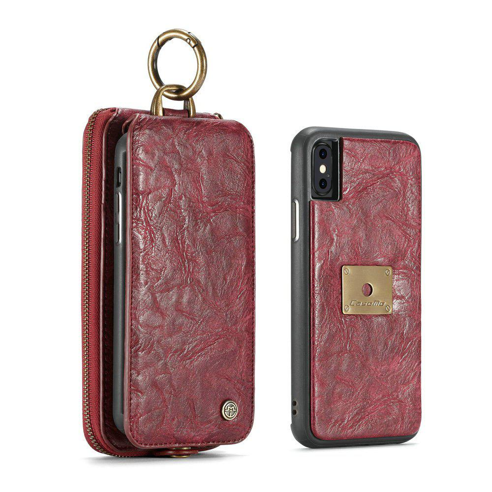 CaseMe for iPhone X 2 in 1 Multi Slots Wallet Vintage Split Leather Mobile Phone Case with Zipper Card Compartment - RED