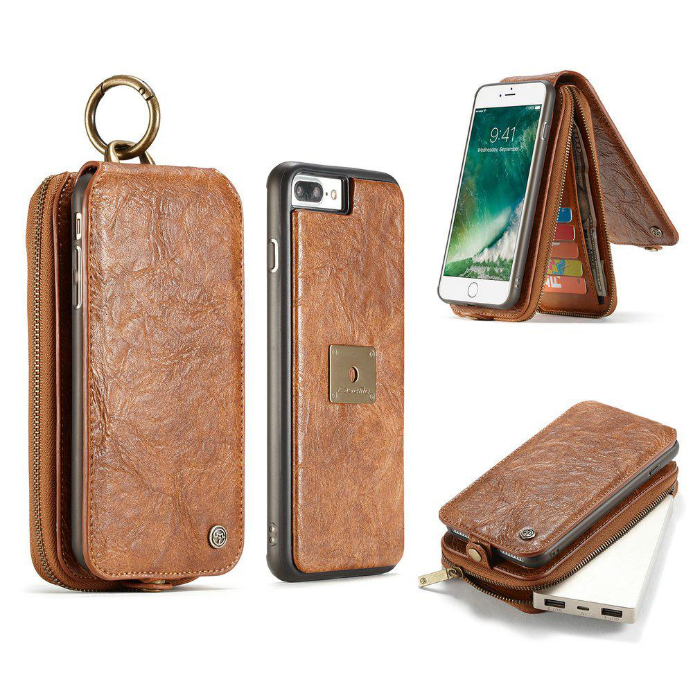 CaseMe for iPhone 8 Plus/7 Plus Leather Zipper Wallet Case with Magnetic PC TPU Back Cover Detachable Folio Cash Holders - BROWN