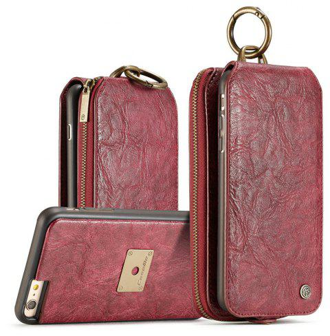 CaseMe for iPhone 6/ 6s Plus Case Zipper Multifunction Retro Wallet Upright Open Leather Case with Detachable Back Cover - RED