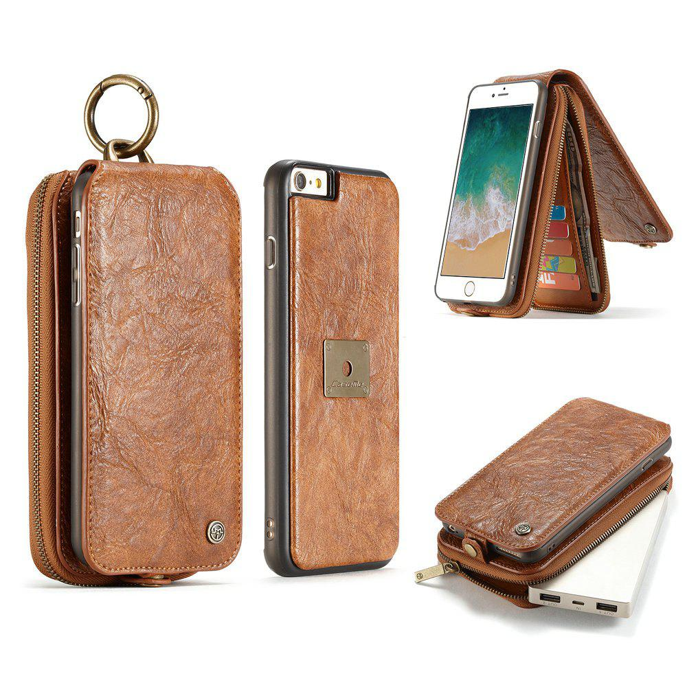 CaseMe for iPhone 6/ 6s Plus Case Zipper Multifunction Retro Wallet Upright Open Leather Case with Detachable Back Cover - BROWN