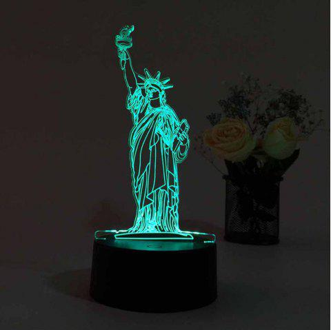 3D USB Touch And Control 7 Colour Night Light Bedroom Bedside LED Lamp - BLACK 9.6X9.6X21.5CM