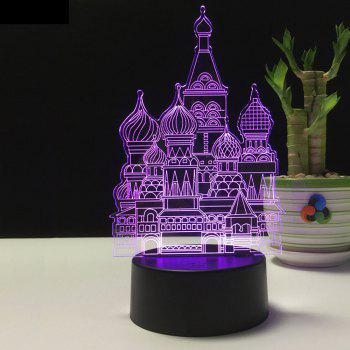 3D Castle USB Touch And Control 7 Colour Night Light Bedroom Bedside LED Lamp - BLACK 12.8X9.6X22.4CM