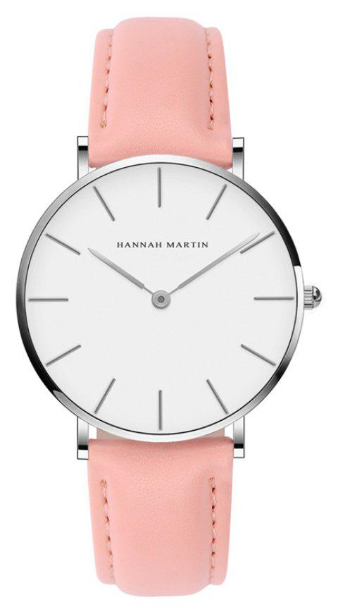 Hannah Martin CB36 Waterproof Business Casual  Band with Ultra-Thin Quartz Watch - PINK/WHITE