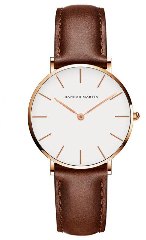 Hannah Martin CB36 Waterproof Business Casual  Band with Ultra-Thin Quartz Watch - BROWN/GOLD