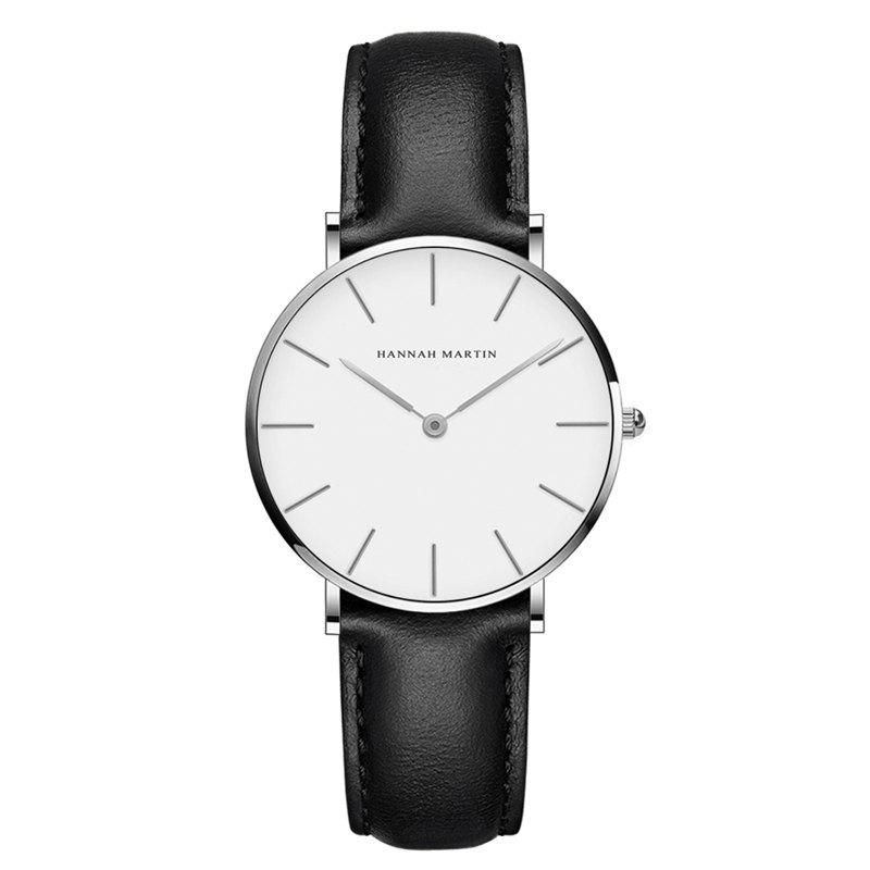 Hannah Martin CB36 Waterproof Business Casual  Band with Ultra-Thin Quartz Watch - BLACK/WHITE