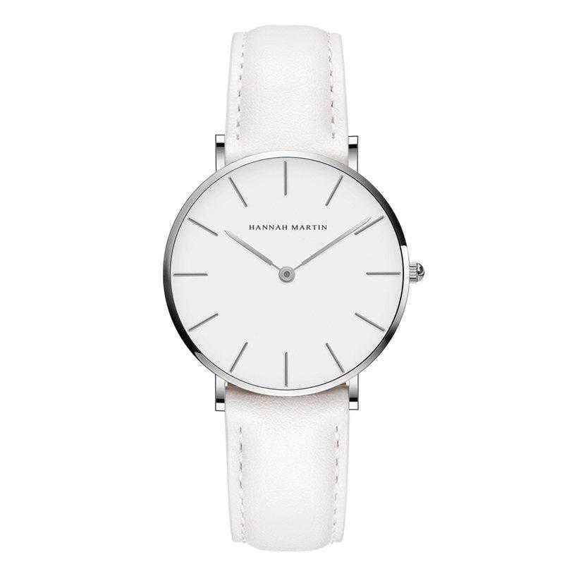 Hannah Martin CB36 Waterproof Business Casual  Band with Ultra-Thin Quartz Watch - WHITE/WHITE
