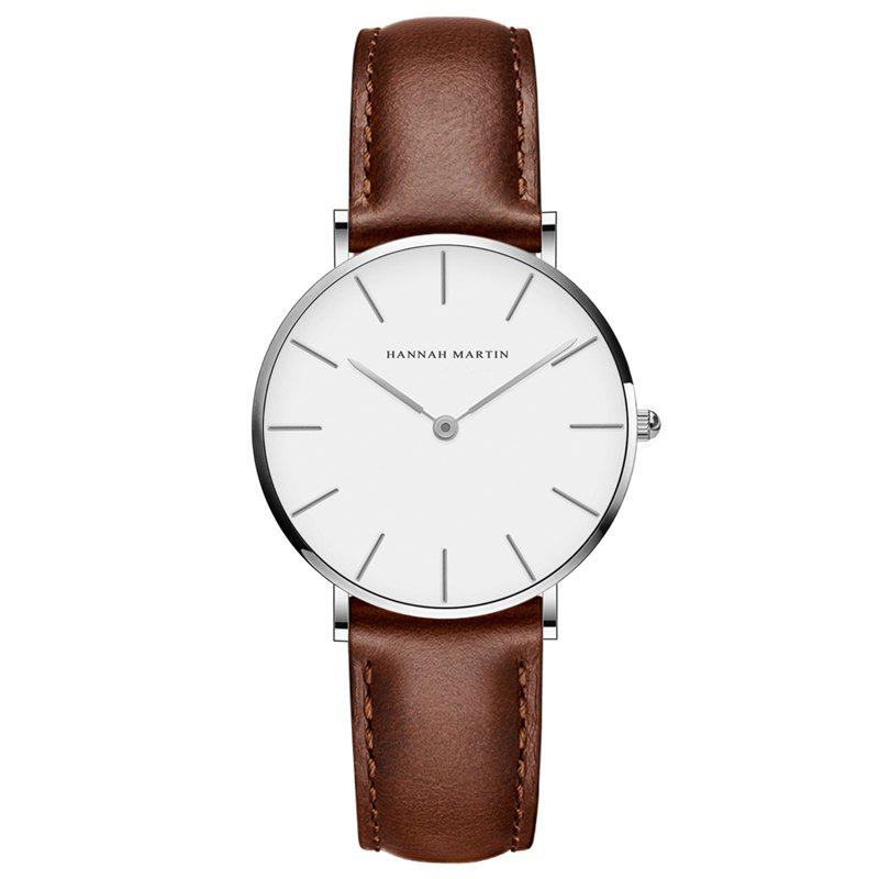 Hannah Martin CB36 Waterproof Business Casual  Band with Ultra-Thin Quartz Watch - BROWN/WHITE