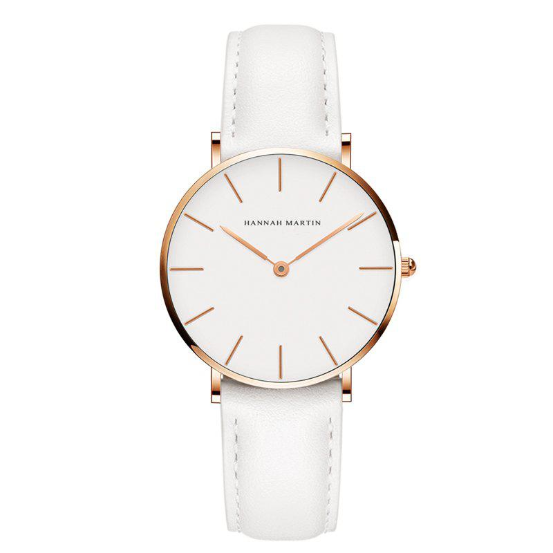Hannah Martin CB36 Waterproof Business Casual  Band with Ultra-Thin Quartz Watch - WHITE/GOLD