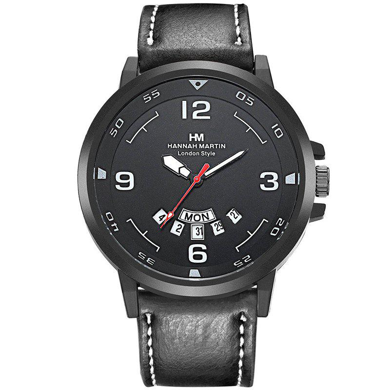 Hannah Martin Men Calendar Week Business Casual Fashion Quartz Watch - BLACK
