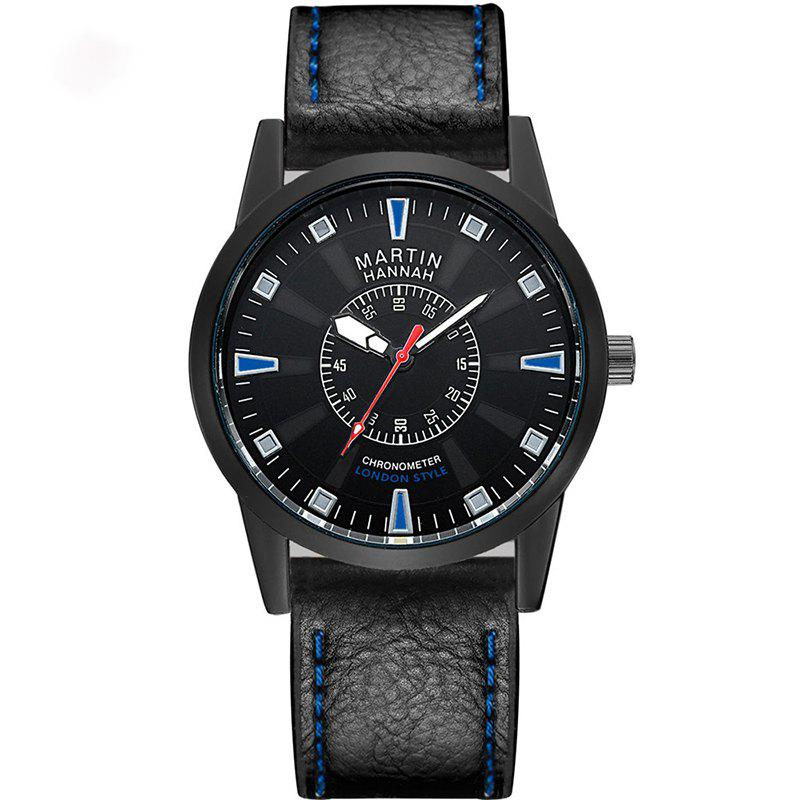 Hannah Martin Men New Fashion Casual Business Belt Quartz Watch - BLACK/BLUE