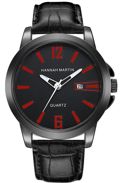 Hannah Martin Men New Calendar Fashion Casual Business Belt Quartz Watch - BLACK/RED
