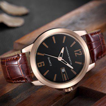 Hannah Martin Men New Calendar Fashion Casual Business Belt Quartz Watch - BROWN/GOLD