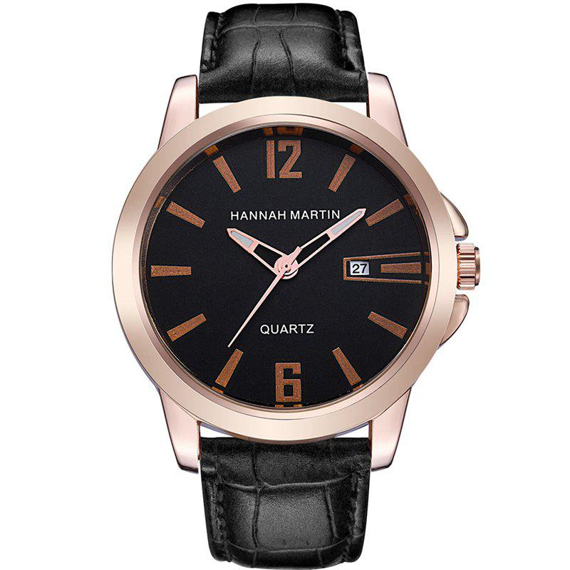 Hannah Martin Men New Calendar Fashion Casual Business Belt Quartz Watch - BLACK/GOLD