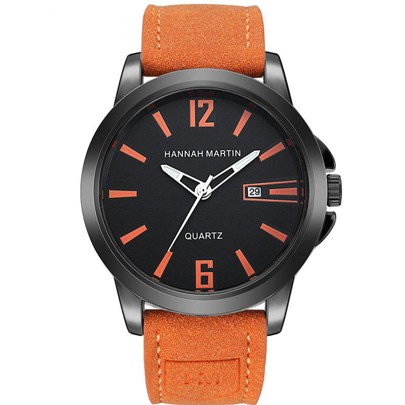 Hannah Martin Men New Calendar Fashion Casual Business Belt Quartz Watch - ORANGE