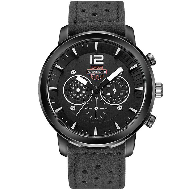 Hannah Martin Men New Sports and Leisure Fashion Breathable Strap Quartz Watch - BLACK/WHITE