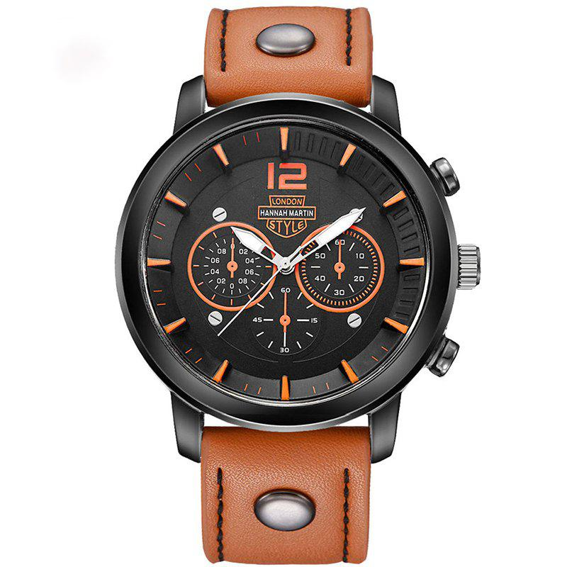 Hannah Martin Men New Sports and Leisure Fashion Breathable Strap Quartz Watch - BROWN/BLACK