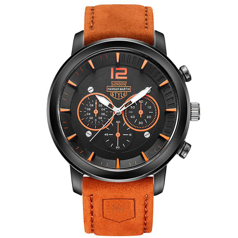 Hannah Martin Men New Sports and Leisure Fashion Breathable Strap Quartz Watch - ORANGE