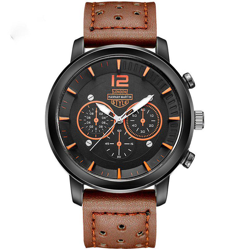 Hannah Martin Men New Sports and Leisure Fashion Breathable Strap Quartz Watch - BROWN