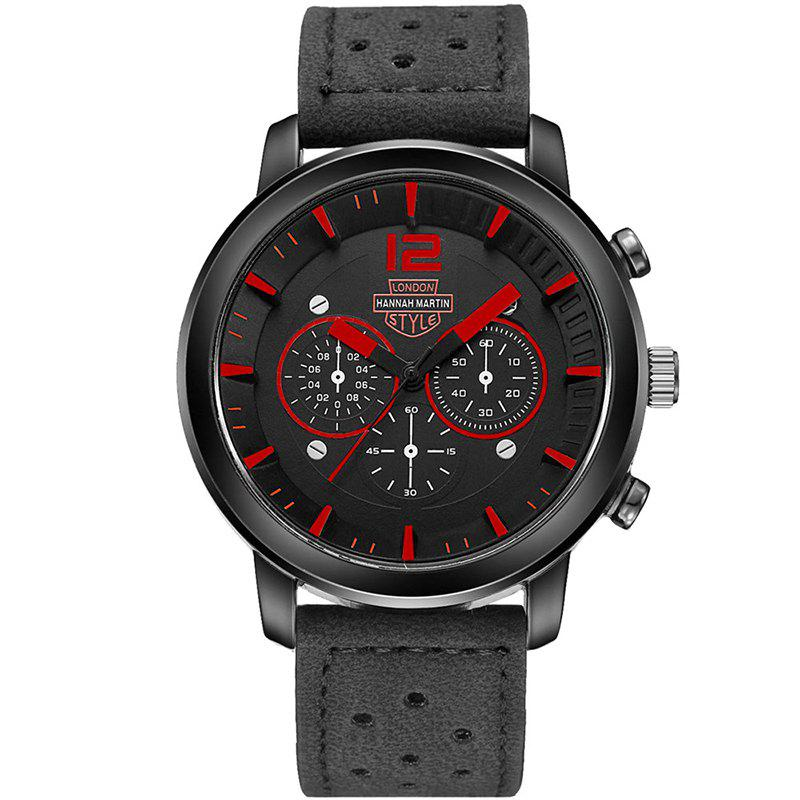 Hannah Martin Men New Sports and Leisure Fashion Breathable Strap Quartz Watch - BLACK/RED