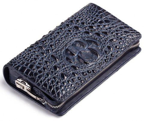 Genuine Leather Clutch Bag For Men Zipper Design Male  Brand Design Men's Phone Holder  RFID Blocking - BLUE