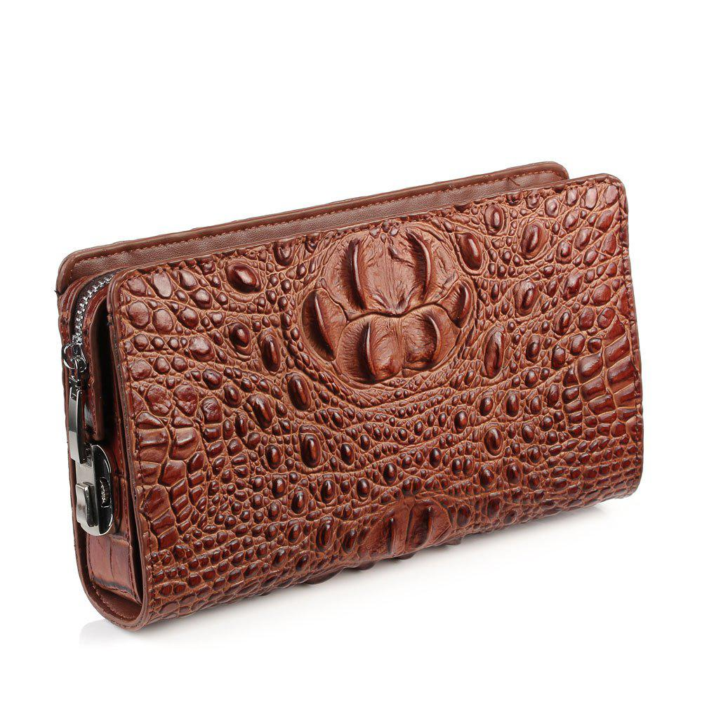 Genuine Leather Clutch Bag For Men Zipper Design Male  Brand Design Men's Phone Holder  RFID Blocking - BROWN