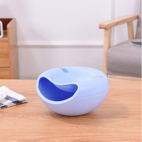 Multi-Purpose Double Layer Dried Fruit Plate with Cellphone Stand Holder Snacks Seeds Dish Container Storage Box - BLUE