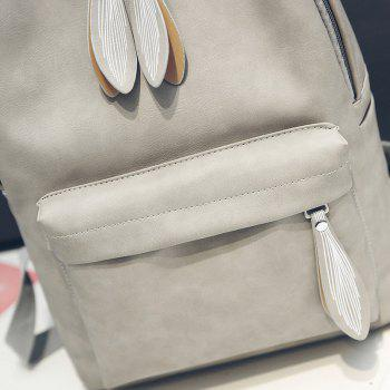 Backpack Pure Color Campus Fashion Female Bag - GRAY