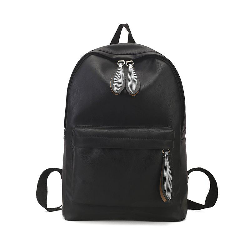 Sac à dos Pure Color Campus Fashion Femme Sac - Noir