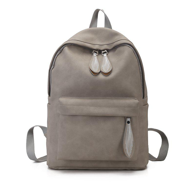 Sac à dos Pure Color Campus Fashion Femme Sac - Gris