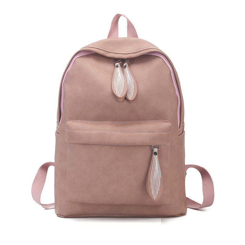 Backpack Pure Color Campus Fashion Female Bag - PINK