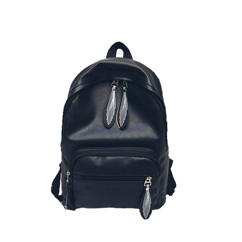 Backpack Pure Color Female Bag Campus Fashion - BLACK