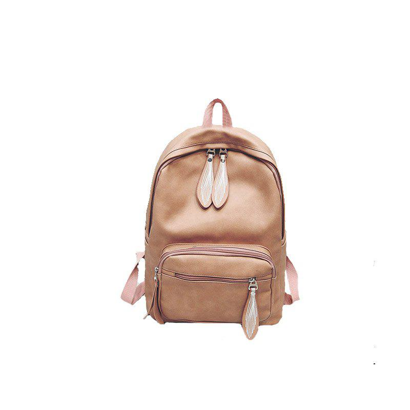 Backpack Pure Color Female Bag Campus Fashion - PINK