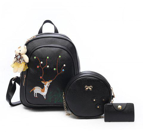 Pure Color Backpack Fashion Female Bag Campus - BLACK