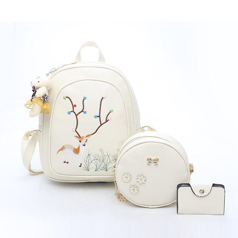 Pure Color Backpack Fashion Female Bag Campus - WHITE