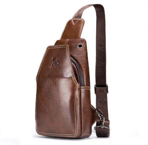 LAOSHIZI LUOSEN 2018 Men Fashion Vintage Genuine Leather Cowhide Travel Riding Motorcycle  Pack Chest Bag - BROWN VERTICAL